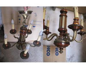 Lampadario a fusione in bronzo e legno