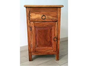 Comodino in legno massello d'olivo arte povera
