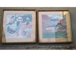 Due stampi quadri con cornice di dimensioni 46 x 46 cm