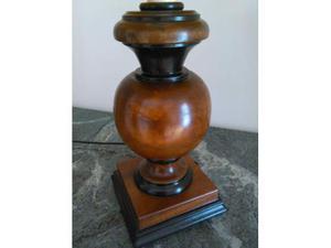 Grande Lampada da Tavolo in Noce e Pergamena - Vintage