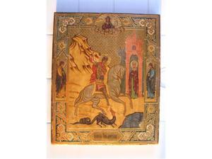 Icona olio su tavola foglia oro