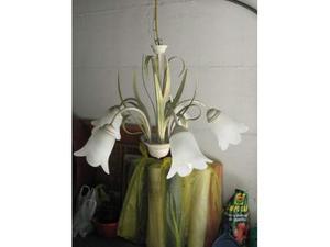 Plafoniera Fiori Vetro : Lampadario plafoniera a luci fiori vetro ferro posot class
