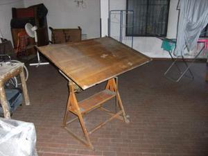 Scrivania Da Disegno : Scrivania tavolo da disegno industrial in ferro e piano in legno