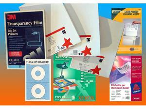 Supporti: lucidi proiezione + etichette + pulizia stampanti