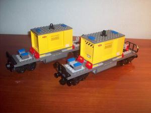 Lego treno merci 2 vagoni 6x28 con container nuovi