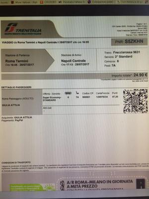 Biglietto treno Roma-Napoli venerdi 28 luglio