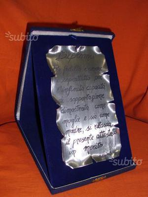 Targa - diploma in peltro