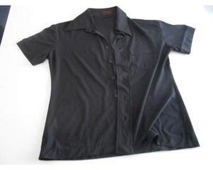 Camicia nera a maniche corte in polyestere (a)