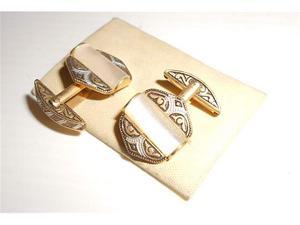 Vintage 60s gemelli in metallo e madreperla