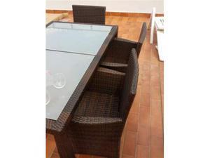 Set Rattan Tavolo 6 sedie Marrone Giardini esterni
