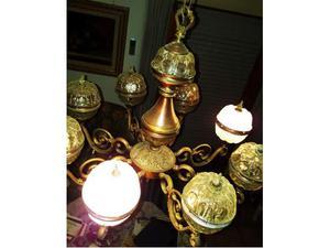 Lampadario e piantana in ottone - vetro