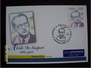 Cartolina filatelica  Alcide De Gasperi.