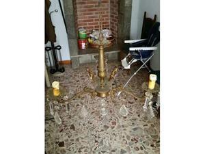 Lampadario dell 800 con gocce di cristallo + lampade