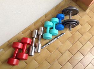 Set di pesi + panca regolabile