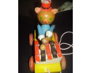 Tamburino gattino in legno anni 60