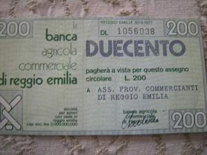 Miniassegno Banca Agricola R.Emilia 200 lire Ass.Comm.Reggio