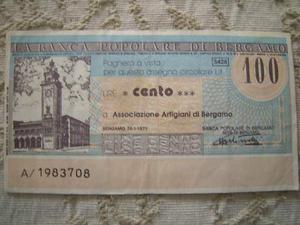 Miniassegno Banca Pop.di Bergamo 100 lire per Ass.Artigiani