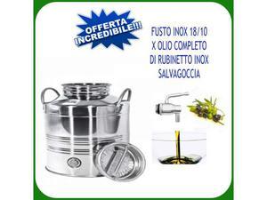Contenitore inox  lt.3 per olio completo di rubinetto