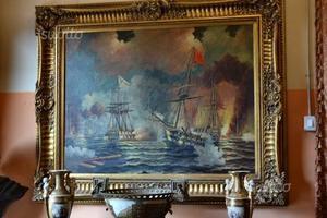 Dipinto olio su tela battaglia marina tra vascelli