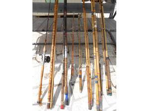 Stock 6 canne da pesca in bambu mosca spinning ect