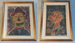 Coppia di dipinti ad olio con pagliacci