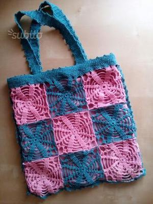 Borsa in pizzo shopping bag all'uncinetto cotone