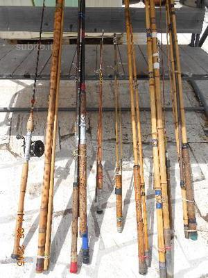 Lotto 8 canne da pesca in bambu bamboo