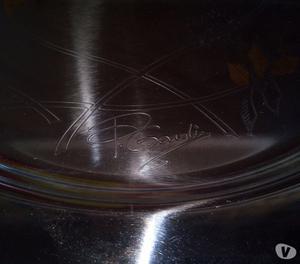 Vassoio in acciaio inox  e oro 24 Kt. firmato P. Cardin
