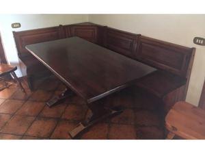 Cassapanca tavolo e 3 sedie legno massello