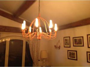 Lampadario 8 luci in ferro battuto e 4 appliques uguali