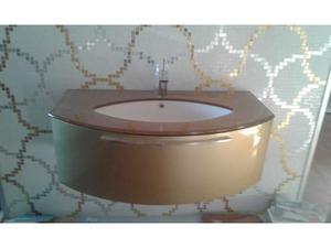 Mobile bagno con top in vetro dorato con misceltore