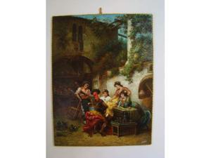 Scorcio d'osteria con figure scuola napoletana olio su tela