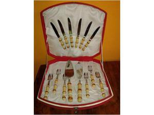 Set posate da dolce in acciao inox e manico bambu'