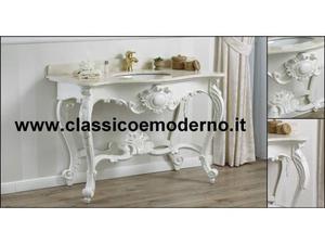 Mobile da bagno consolle con marmo bianco