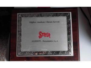 Pubblicità STREGA - Benevento su targa in metallo e legno