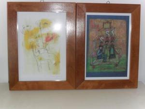 2 quadri con stampe di tonino guerra con cornice in legno