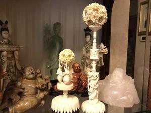 Antichità Cina sculture in giada, avorio, turchese, Netsuke
