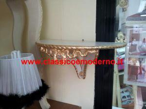 Comodino mensola consolle legno a parete avorio e oro