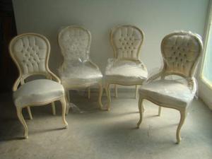 Lotto di 4 sedie francesi linea luigi xv in legno laccato