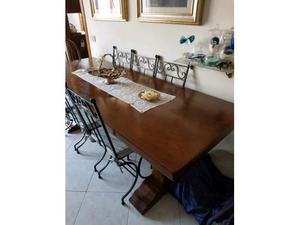 Tavolo fratino castagno massello 85x230x5 e sedie in ferro