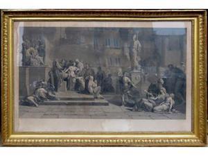 Una grande litografia ottocentesca. Importante