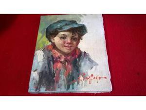 Antico dipinto olio su tela vintage