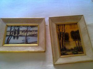 Due quadri dipinti su mattonelle
