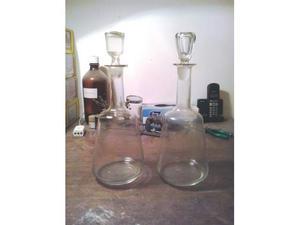 N.2 bottiglie vetro collo lungo primi '900