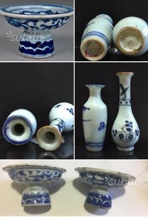 Antico bianco blu fiori di loto cinese 18' secolo
