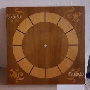 Base legno intarsiato orologio parete