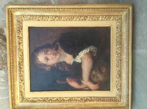 Dipinto ad olio su tavola con cornice d'epoca