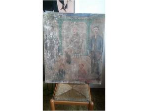 Dipinto antico olio su tela. Vacchiotto