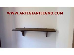 Mensole in legno rettangolari color noce misura 100 x 25 cm