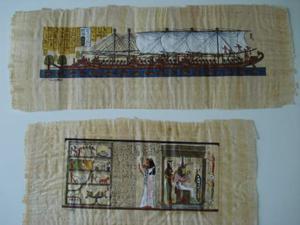 2 quadri su carta di papiro misura 60x22 e 47x24cm